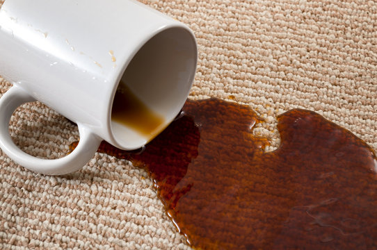 Home mishap, stained carpet, and domestic accident concept with close up of a spilled cup of coffee leaving a stain on the brown carpet