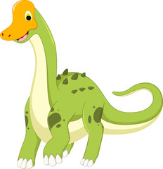 cute dinosaur cartoon walking with smile and waving