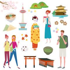 インバウンド イラスト 観光客 京都