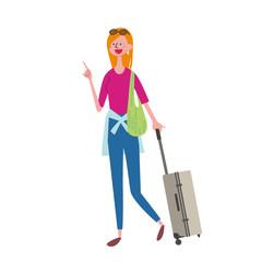 インバウンド イラスト 観光客 トランクをもつ女性