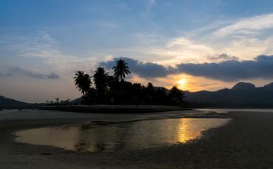 sunset sea beach and cloudscape sky