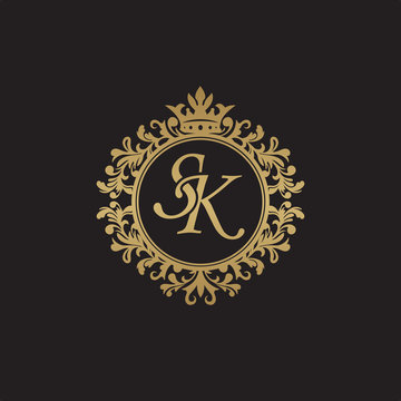 Initial letter SK, overlapping monogram logo, decorative ornament badge, elegant luxury golden color