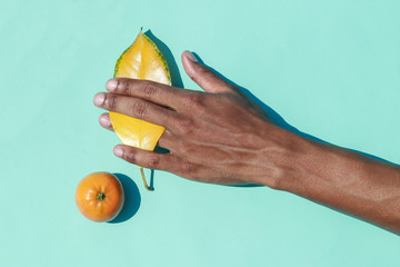 Man's hand holding leaf next to tangerine