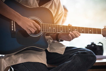 Music playing guitar concept : Hands Young man people that guitarist play for show live in concert