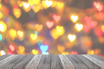 Wooden shelves on heart background