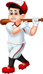 cute baseball cartoon standing with smile and bring stick