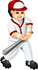 funny baseball player cartoon standing in action with smile and bring stick