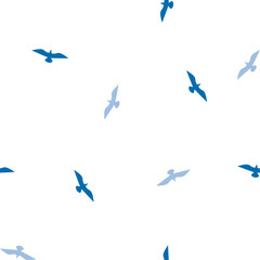 vector seamless bird pattern, white and blue colors