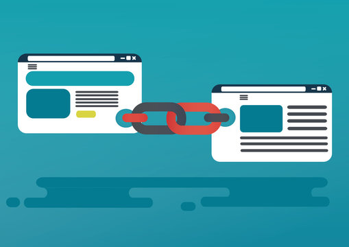 Backlinks or link building. seo concept.  vector illustration