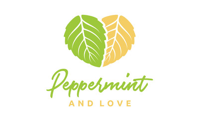 Mint leaves and Heart logo design inspiration