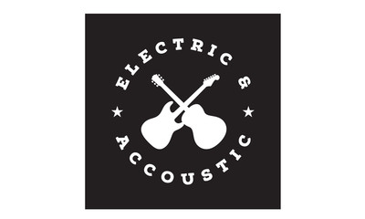 Cross Guitar Emblem / Stamp logo design