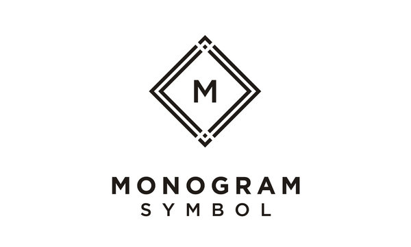 Initial Monogram simple Art Deco Luxury Vintage Square Frame Border logo design inspiration