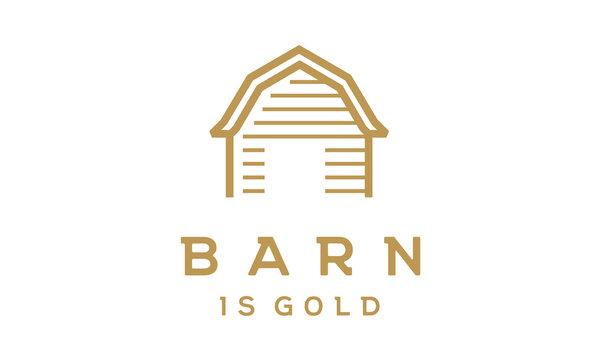 Golden Wood Barn Farm Minimalist Vintage Retro Line Art Logo design inspiration