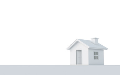 3D rendering of simple house isolated on white background with clipping path. White schematic mass for real estate conceptual.