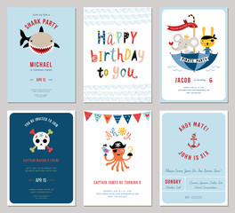 Birthday boy invitation cards set. Little bunny and octopus pirates, cartoon shark and decorative skull.