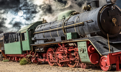Alienated photograph of the steam locomotive of Wadi Rum in Jordan with a dramatic background