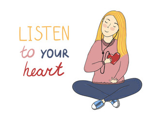 """Vector concept card with cute smiling young girl with heart in her hand and text """"Listen to your heart"""""""