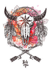 Boho Sketch Illustration With Hand Drawn Bull Skull With Indian Arrows, Feathers And Dreamcatcher. Hipster Fashion Print With Grunge Blots And Splash
