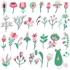 Vector big set of different hand drawing elements: flowers, branches, leaves and berries. Cute floral elements and smiling mouse for design.