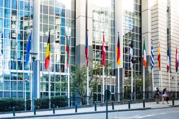 BRUSSELS, BELGIUM - August 5, 2017 : Exterior of the building of the European Parliament in Brussels, Belgium. it exercises the legislative function of the EU.August 5, 2017, BRUSSELS, BELGIUM Fotomurales