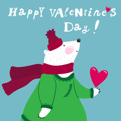 "Vector holiday card with cute smiling white bear and text ""Happy valentine's day"". Funny hand drawing cartoon character."