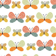 Vector seamless pattern with different butterflies on the white background. Endless texture with hand drawing insect.