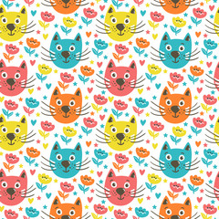 Vector bright seamless pattern with funny cats, hearts, stars, flowers. Cute cartoon characters. Hand drawing childish background.