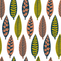 Vector seamless pattern with different stylish leaves. Natural floral hand drawing texture.