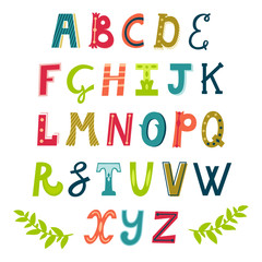 Vector set of bright different letters. Stylish abc. Retro hand drawing font.
