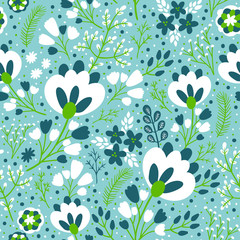 Vector seamless pattern with flowers, berries, branches and leaves. Floral hand drawing floral texture. Spring natural background.