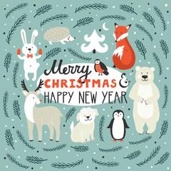 Vector holiday background with cute animals: fox, deer, penguin, rabbit, polar bear, urchin, dog, bullfinch. Christmas card with hand written text Merry Christmas and happy New Year. Winter background