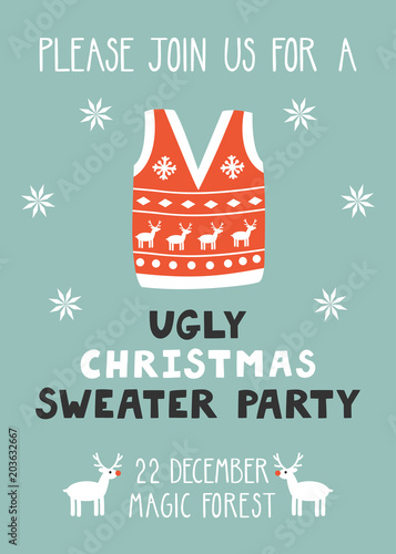Vector Invitation Template With Ugly Sweater Reindeer Snowflakes