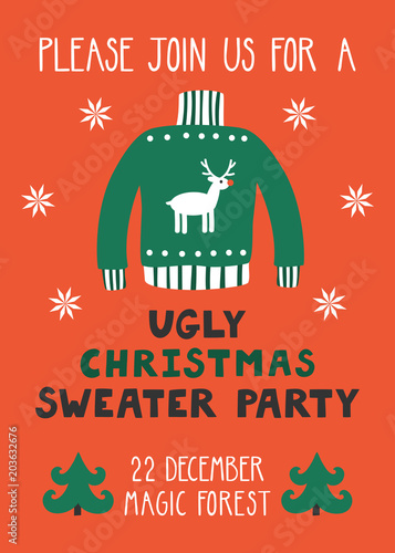 a935397dc93b1 Vector invitation template with ugly sweater