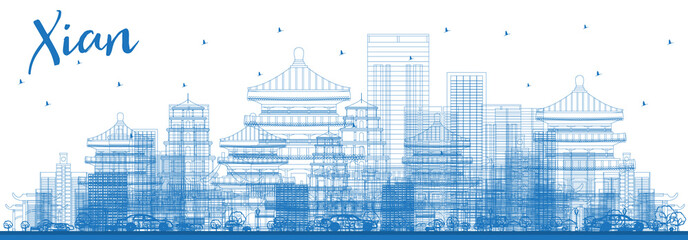 Outline Xian City Skyline with Blue Buildings.