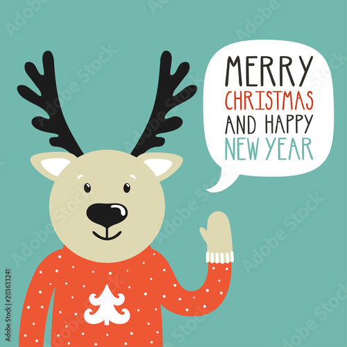 vector holiday illustration of a cute deer in a sweater saying merry christmas and happy