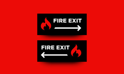 Fire Exit Direction Sign Vector Illustration with Left and Right Arrows