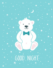 """Vector childish background with cute polar bear, stars, moon and text """"Good night"""". Beautiful poster for kids room. Smiling cartoon character on the blue background."""