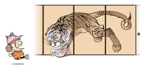 ふすまから抜け出す虎