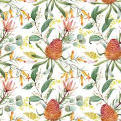 Watercolor australian banksia vector pattern