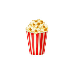 Popcorn in a red striped bucket box isolated on white background. Vector Icon.