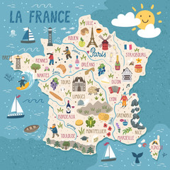 Vector stylized map of France. Travel illustration with french landmarks, people, food and animals.