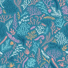 Vector seamless pattern with seaweed. Repeated texture with sea plants.