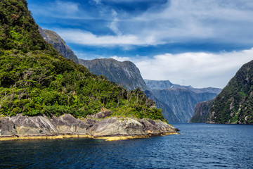 View of the beginning of Milford Sound fiord from Tasman Sea