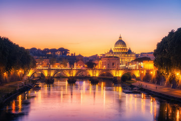 Photo sur Toile Rome Rome, Italy with St Peter Basilica of the Vatican