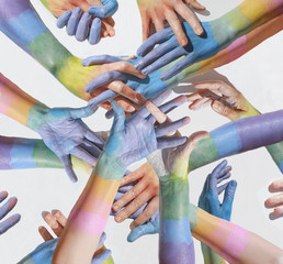 Rainbow color painted hands