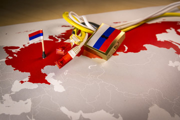 Padlock, net cable, Russia flag on a smartphone and Russia map, symbolizing the System for Operative Investigative Activities concept or SORM and all Internet censorship in Russia