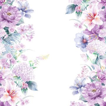 Purple watercolor rose flower