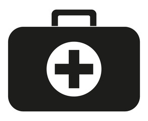 Black and white first aid kit silhouette