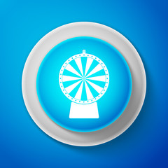 White Lucky wheel icon isolated on blue background. Circle blue button with white line. Vector Illustration