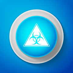 White Triangle sign with Biohazard symbol icon isolated on blue background. Circle blue button with white line. Vector Illustration